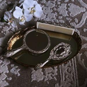 Silverplated 3 pcs. Dressers set brushes vintage